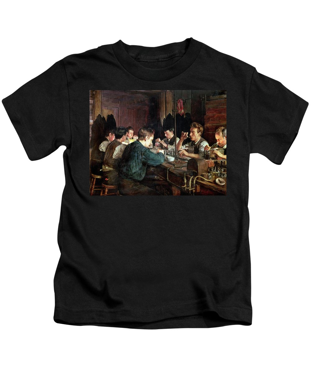 Industry; Blowing; Factory; Working; Blower; Glassblower Kids T-Shirt featuring the painting The Glass Blowers by Charles Frederic Ulrich