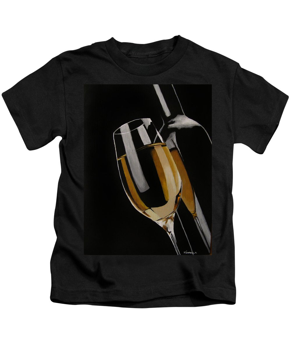 Wine Kids T-Shirt featuring the painting The Golden Years by Kayleigh Semeniuk
