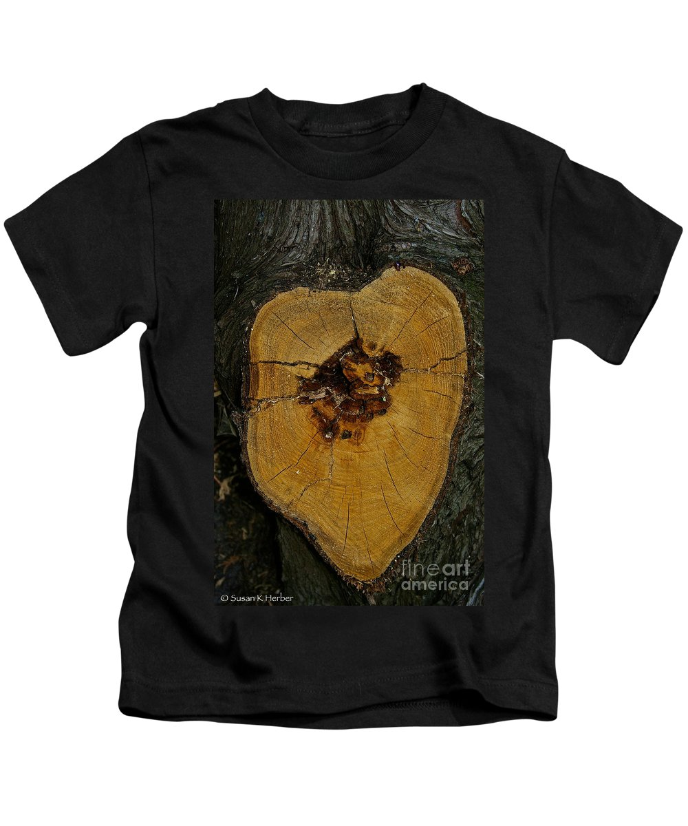 Outdoors Kids T-Shirt featuring the photograph The Heart Of A Tree by Susan Herber