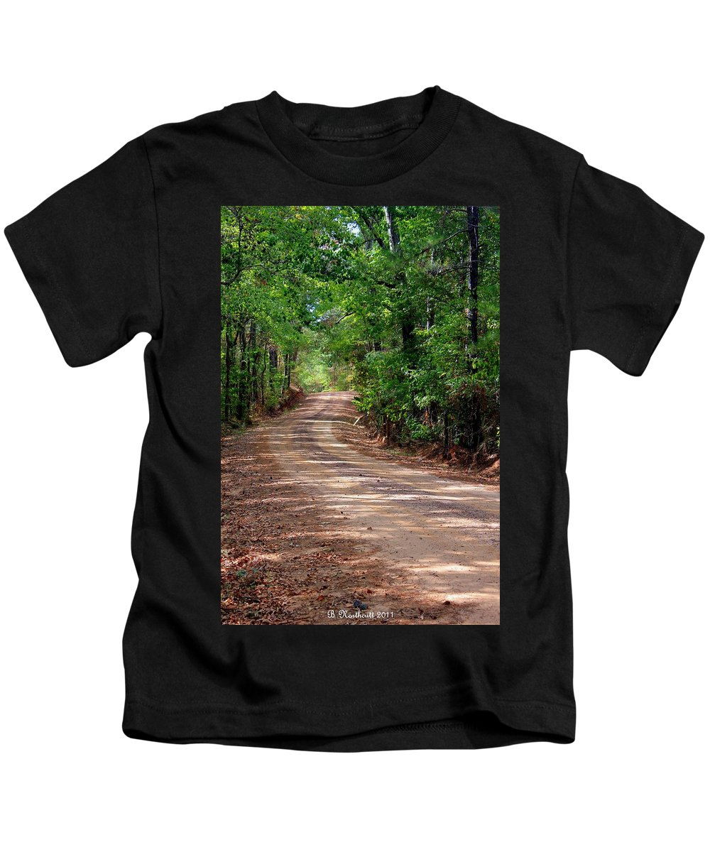 Landscape Kids T-Shirt featuring the photograph The High Road by Betty Northcutt
