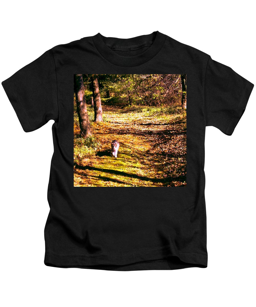 Cat Kids T-Shirt featuring the painting The Hiker by Renate Nadi Wesley