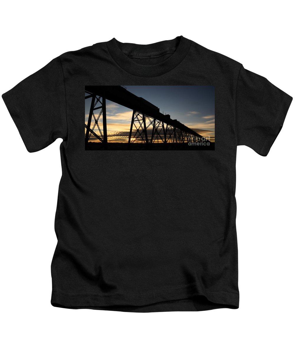 Lethbridge Kids T-Shirt featuring the photograph The Lethbridge Bridge by Vivian Christopher