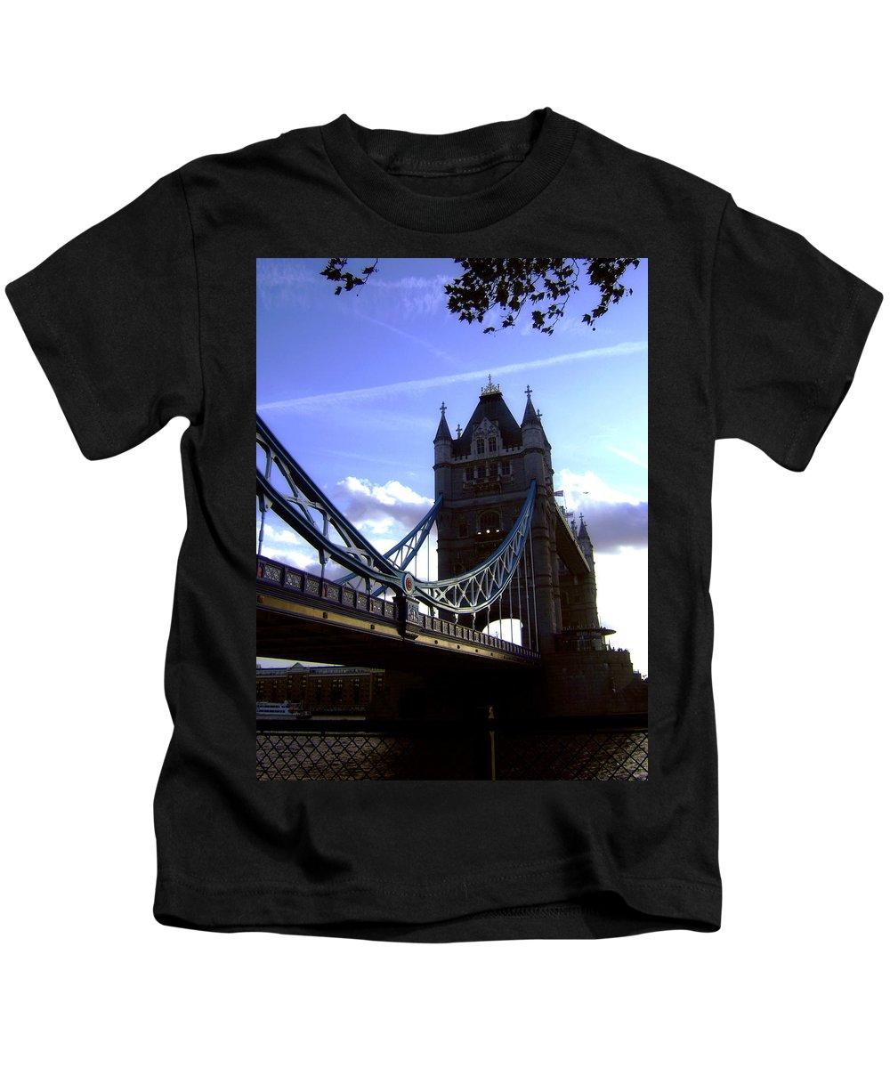 London Tower Bridge United Kingdom Gb Sky Clouds Cloud Bw Black White Kids T-Shirt featuring the photograph The London Tower Bridge by Steve K