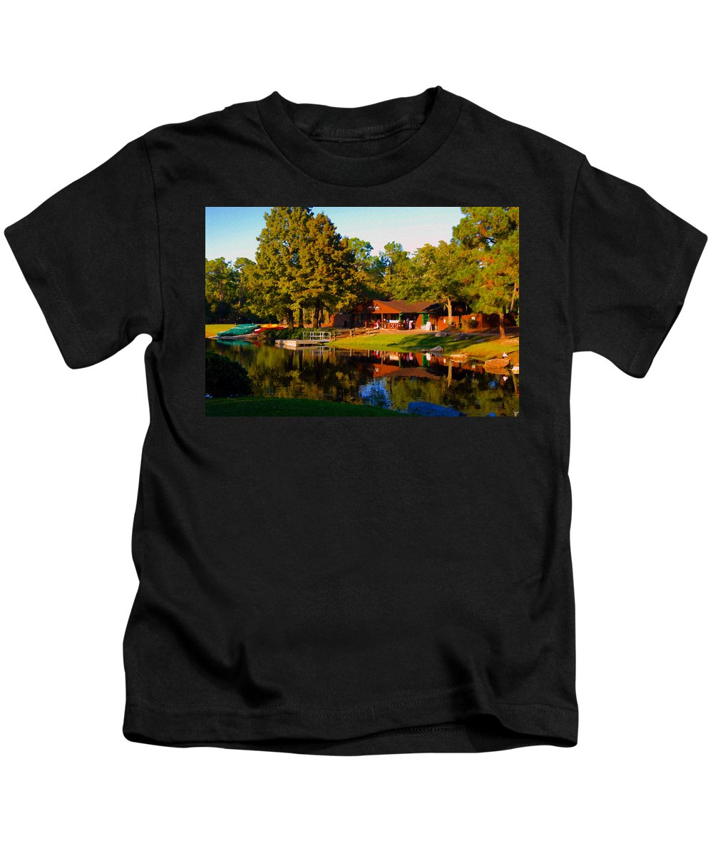 Art Kids T-Shirt featuring the painting The Old Bike Barn by David Lee Thompson