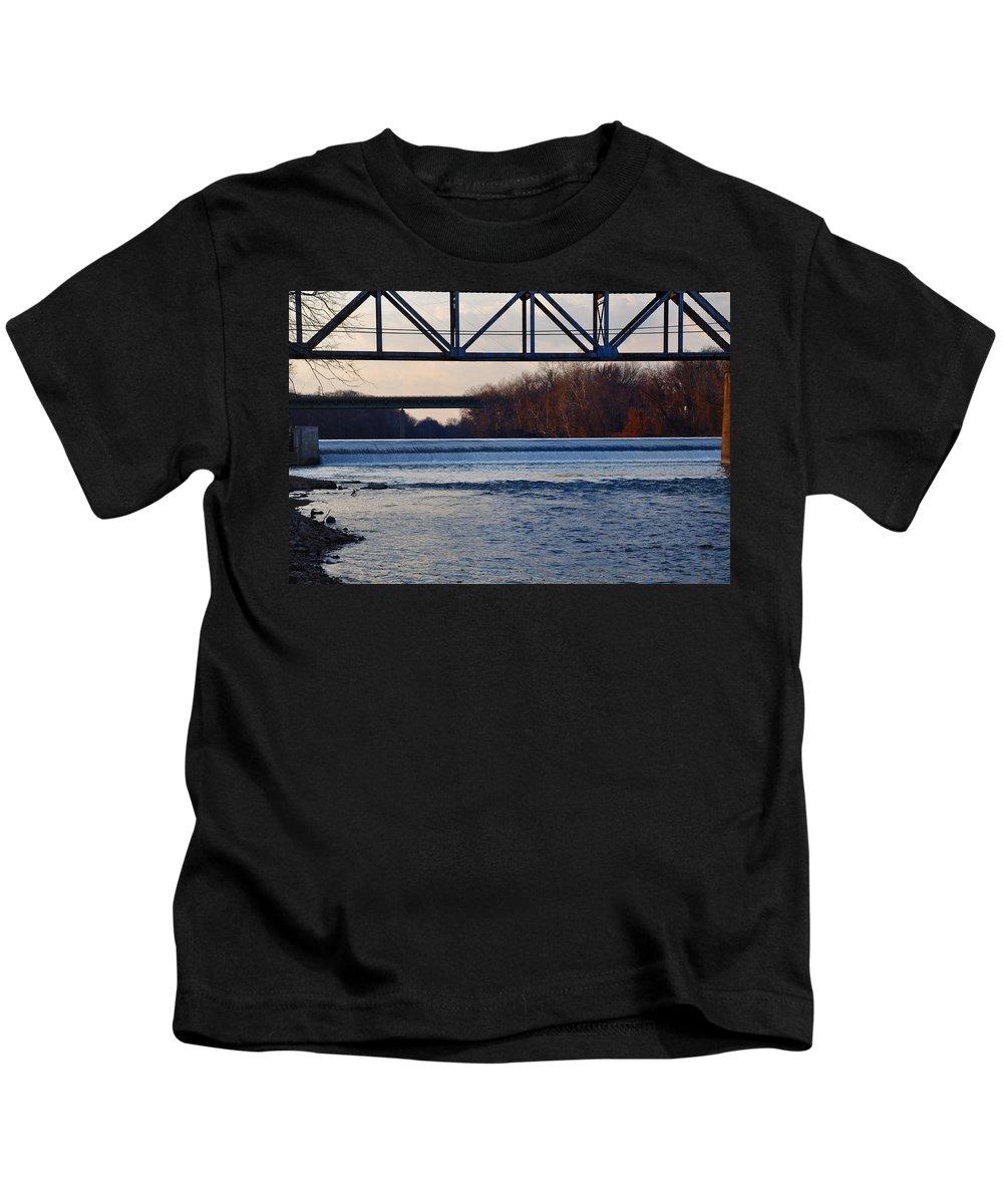 The Schuylkill River At Bridgeport Kids T-Shirt featuring the photograph The Schuylkill River At Bridgeport by Bill Cannon
