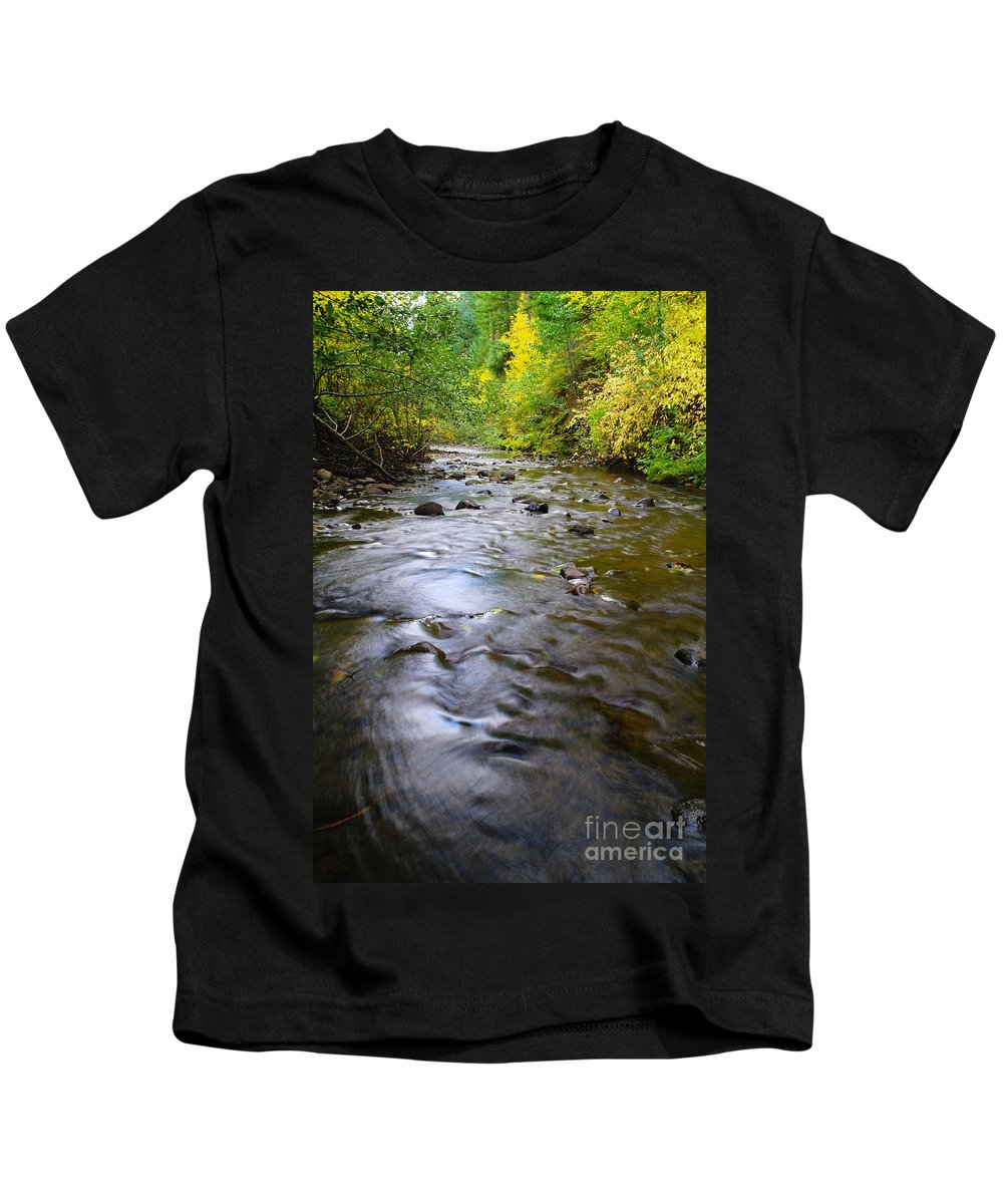 Autumn Kids T-Shirt featuring the photograph The Slow Flow Of Things by Jeff Swan