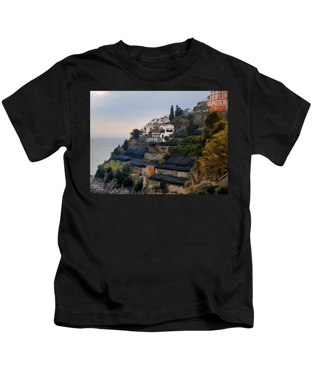 Amalfi By The Sea Kids T-Shirt featuring the photograph The Terraces Of Amalfi by Bill Cannon