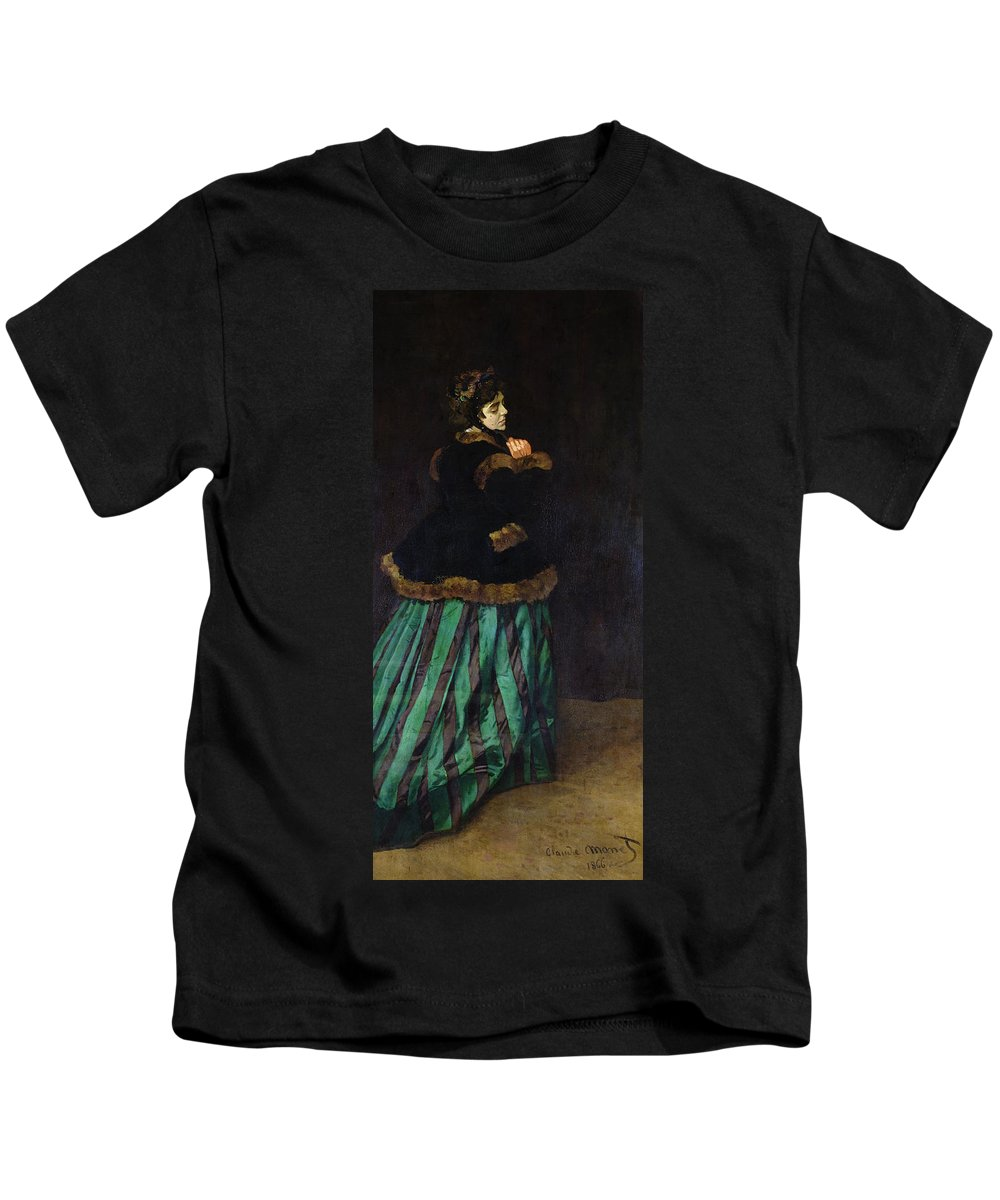 Camille Kids T-Shirt featuring the painting The Woman In The Green Dress by Claude Monet