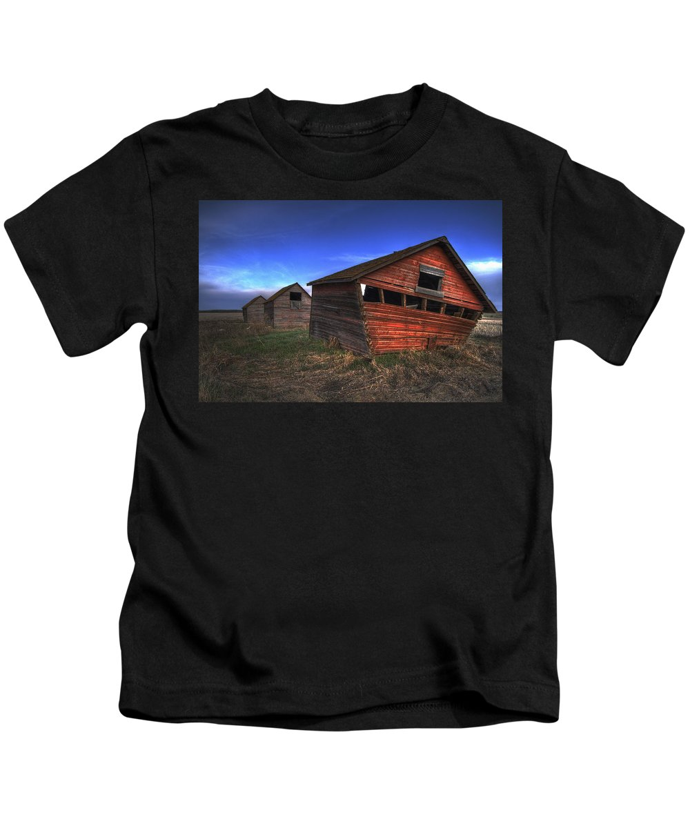 Colour Image Kids T-Shirt featuring the photograph Three Old Red Granaries On The Alberta by Dan Jurak
