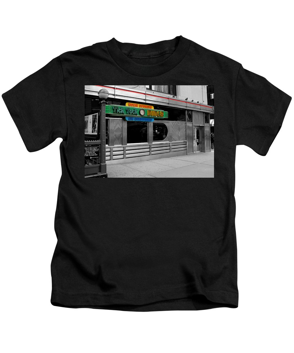 Manhattan Kids T-Shirt featuring the photograph Tick Tock Diner by Andrew Fare