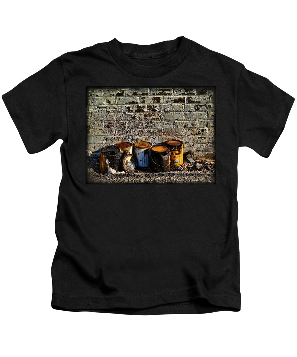 Alley Kids T-Shirt featuring the photograph Toxic Alley Grunge Art by Kathy Clark
