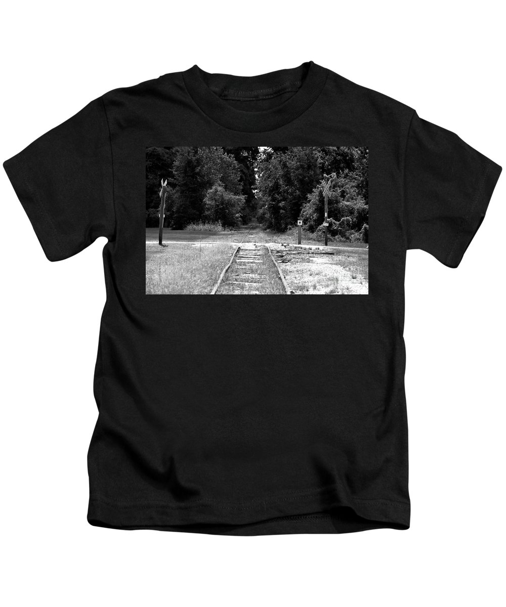 Railroad Kids T-Shirt featuring the photograph Abandoned Rails by John Black