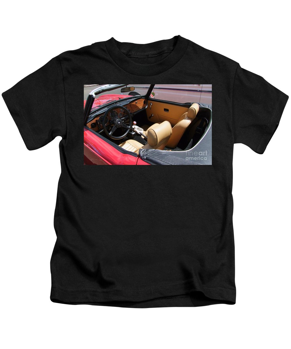 Triumph Tr6 Kids T-Shirt featuring the photograph Triumph Tr6 Seats by Mary Deal