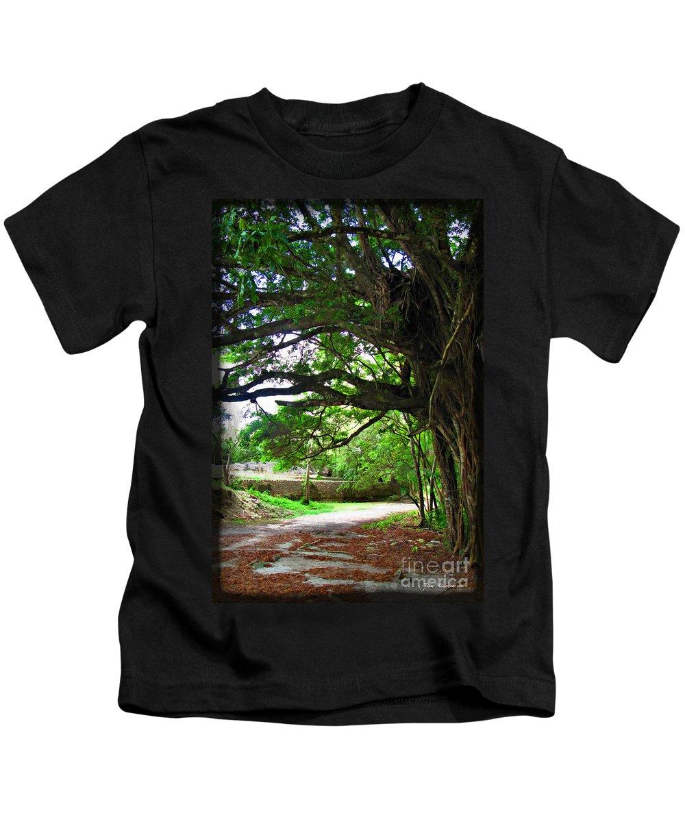 Tropics Kids T-Shirt featuring the photograph Tropical Banyan Path by Joan Minchak