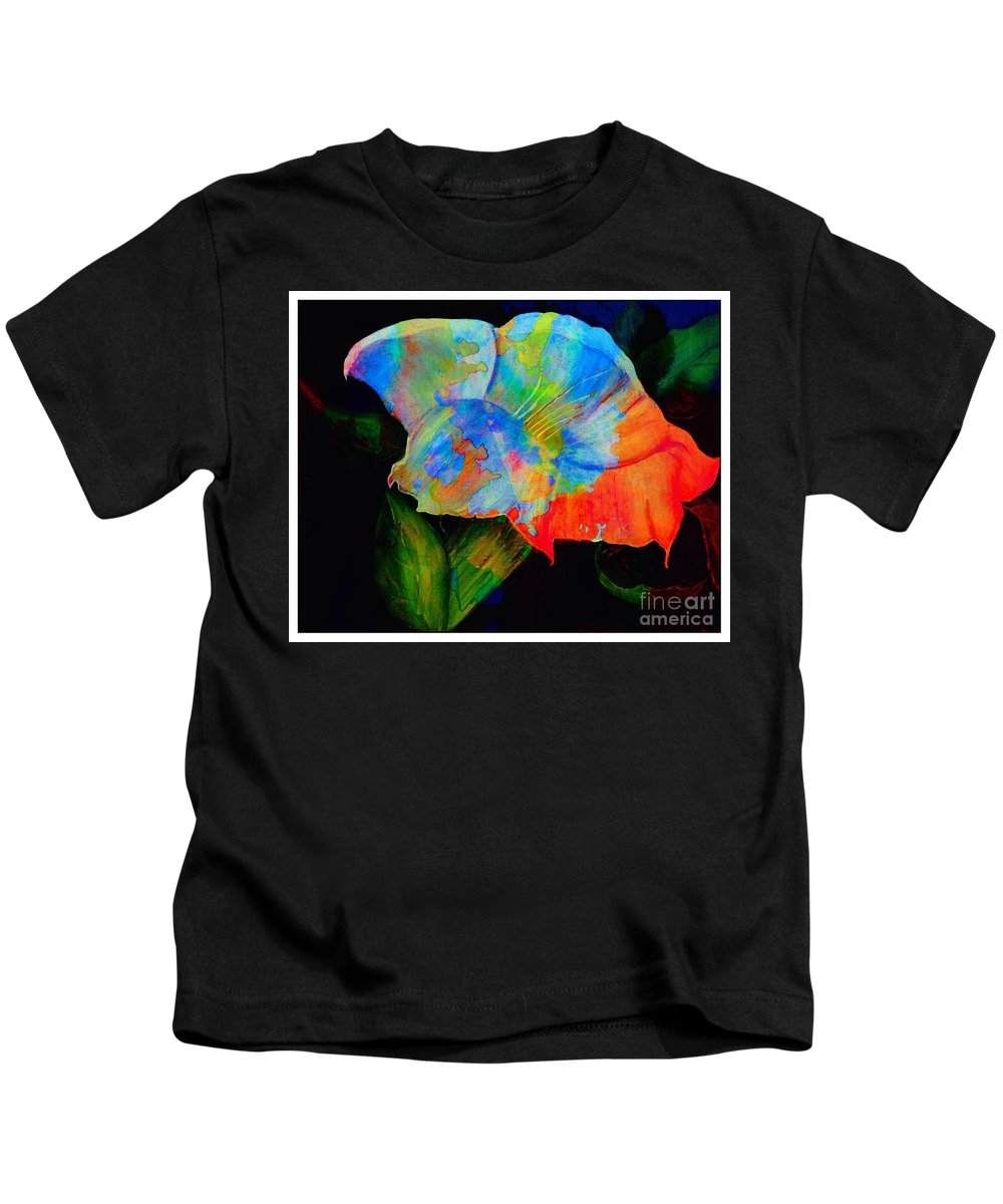 Trumpet Flower Kids T-Shirt featuring the digital art Trumpet With Watercolor Overlay by Barbara Griffin