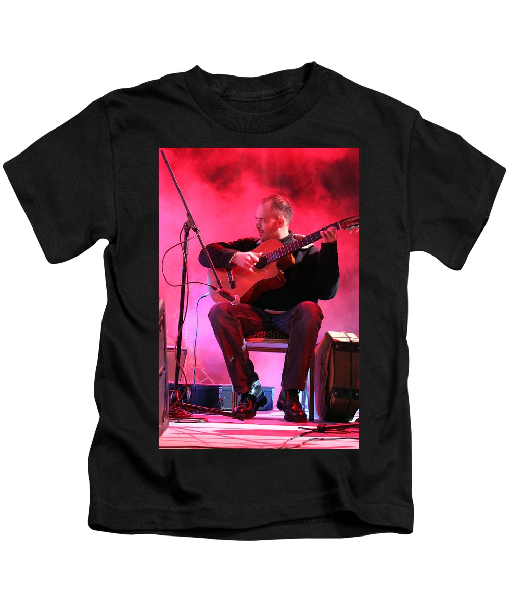 Turab Kids T-Shirt featuring the photograph Turab Guitar Player Victor Kawas by Munir Alawi