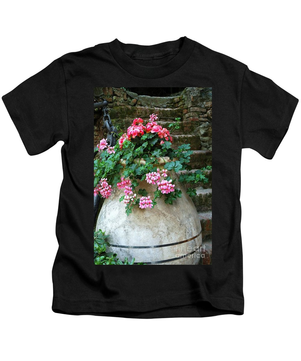 Italy Kids T-Shirt featuring the photograph Tuscan Earthenware Pot And Flowers by Allen Beatty
