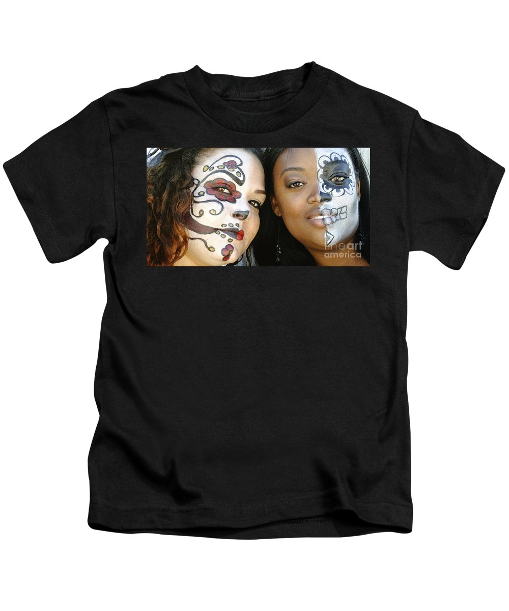 Maskers Kids T-Shirt featuring the photograph Two Faces by Kathleen K Parker
