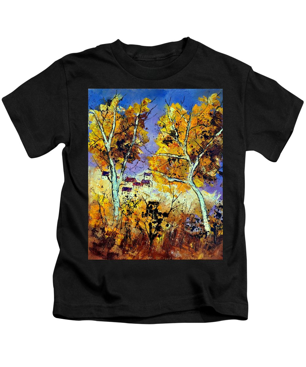 Landscape Kids T-Shirt featuring the painting Two Trees In Fall by Pol Ledent