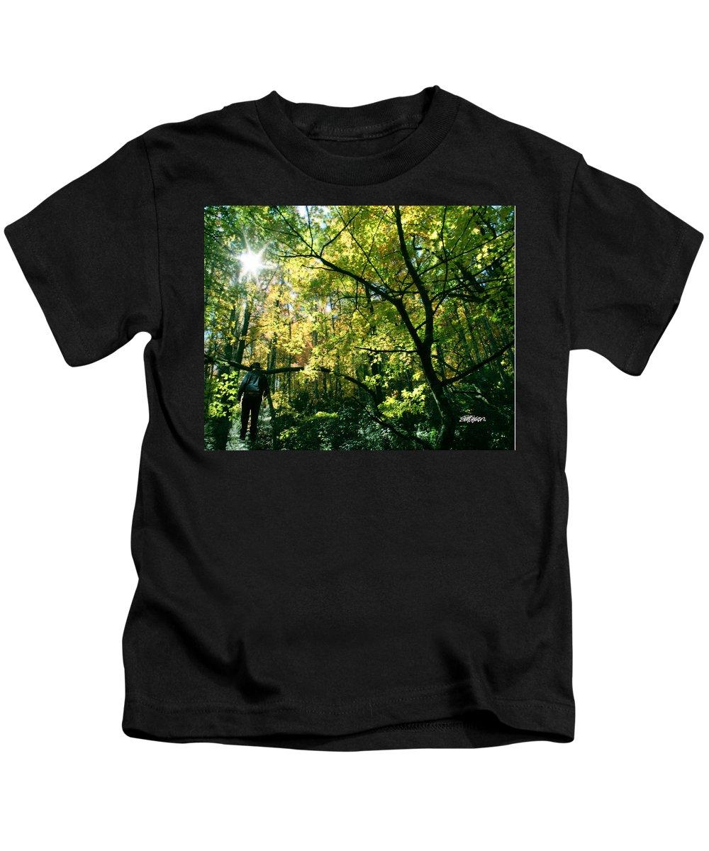 Under A Golden Canopy Kids T-Shirt featuring the photograph Under a Golden Canopy by Seth Weaver