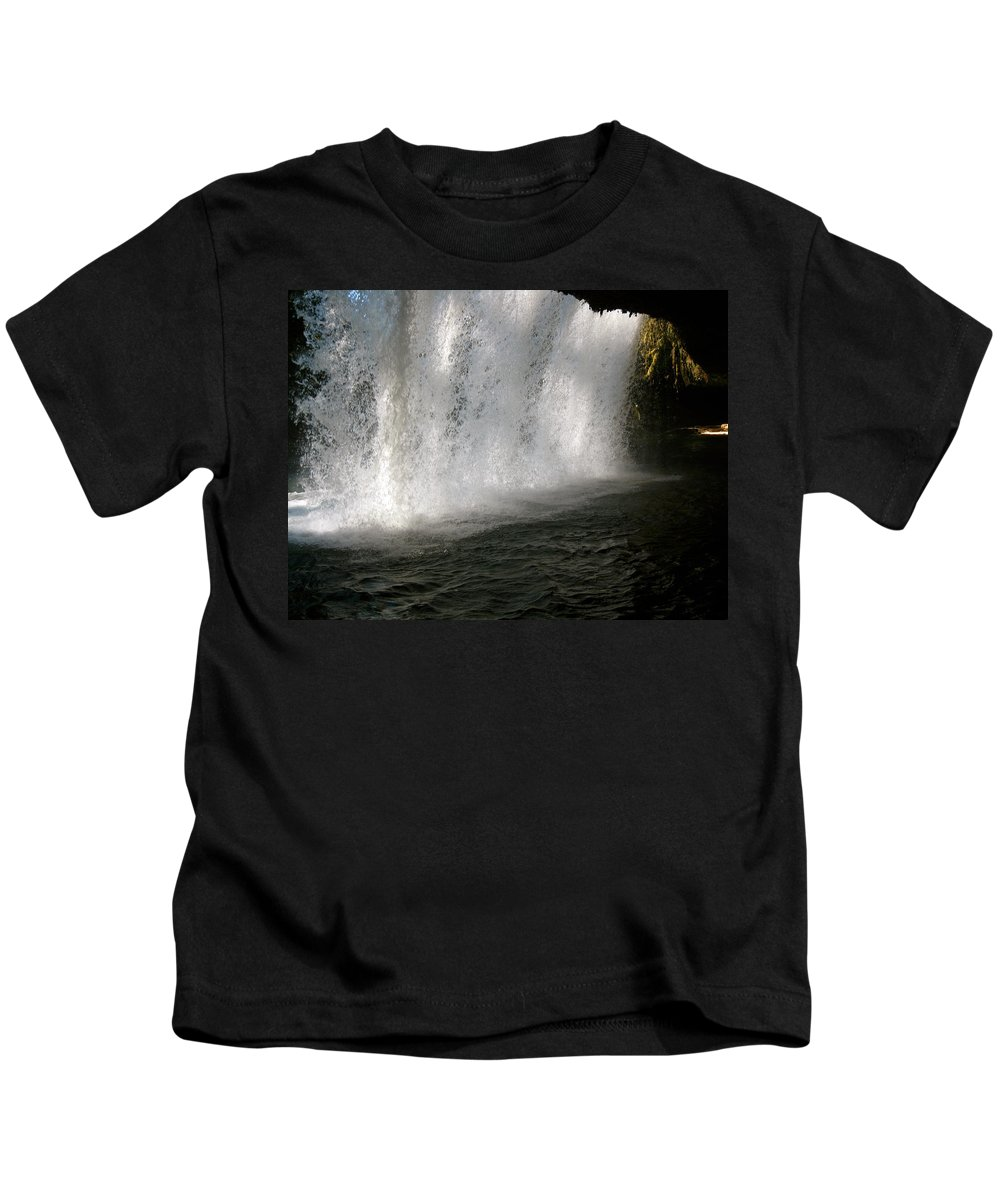 Water Kids T-Shirt featuring the photograph Under The Falls 3 by Linda Hutchins