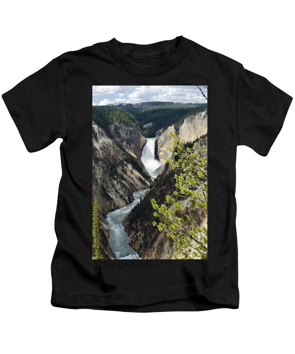 Yellowstone National Park Kids T-Shirt featuring the photograph Upper Falls Of The Yellowstone River by Jon Berghoff