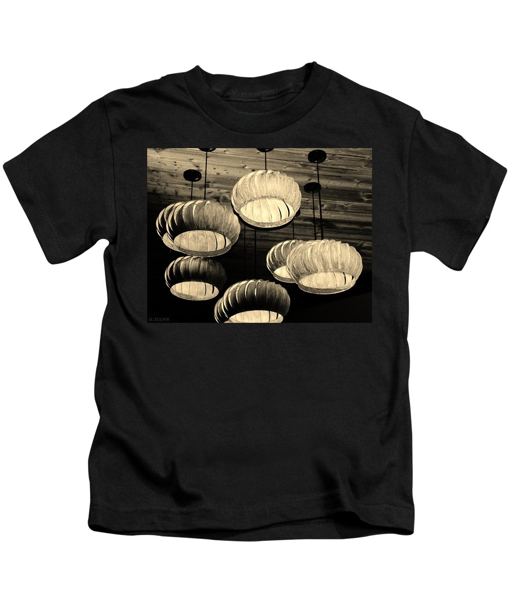 Lights Kids T-Shirt featuring the photograph Vented Lights In Sepia by Rob Hans