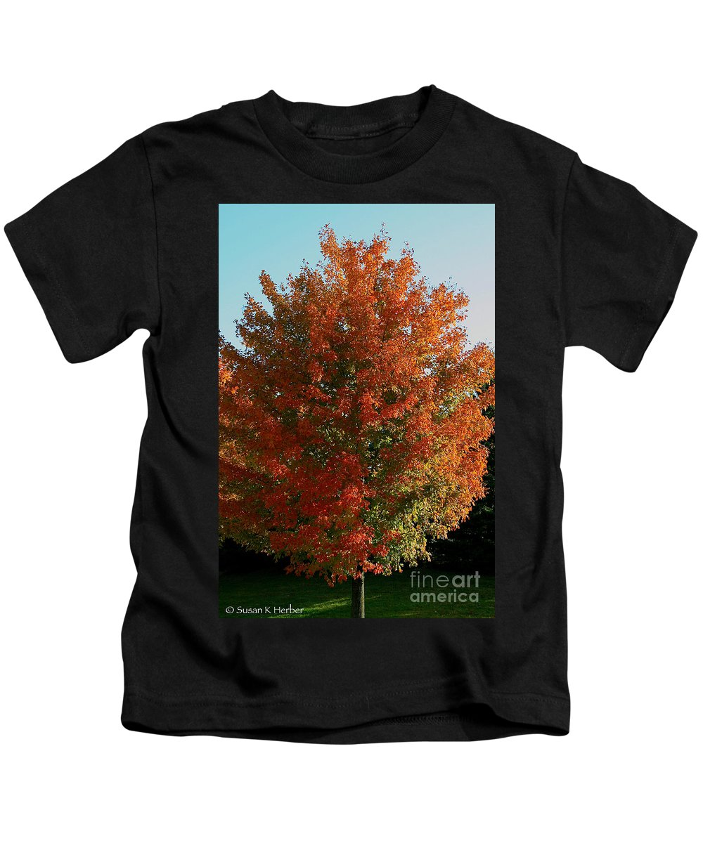 Outdoors Kids T-Shirt featuring the photograph Vibrant Sugar Maple by Susan Herber