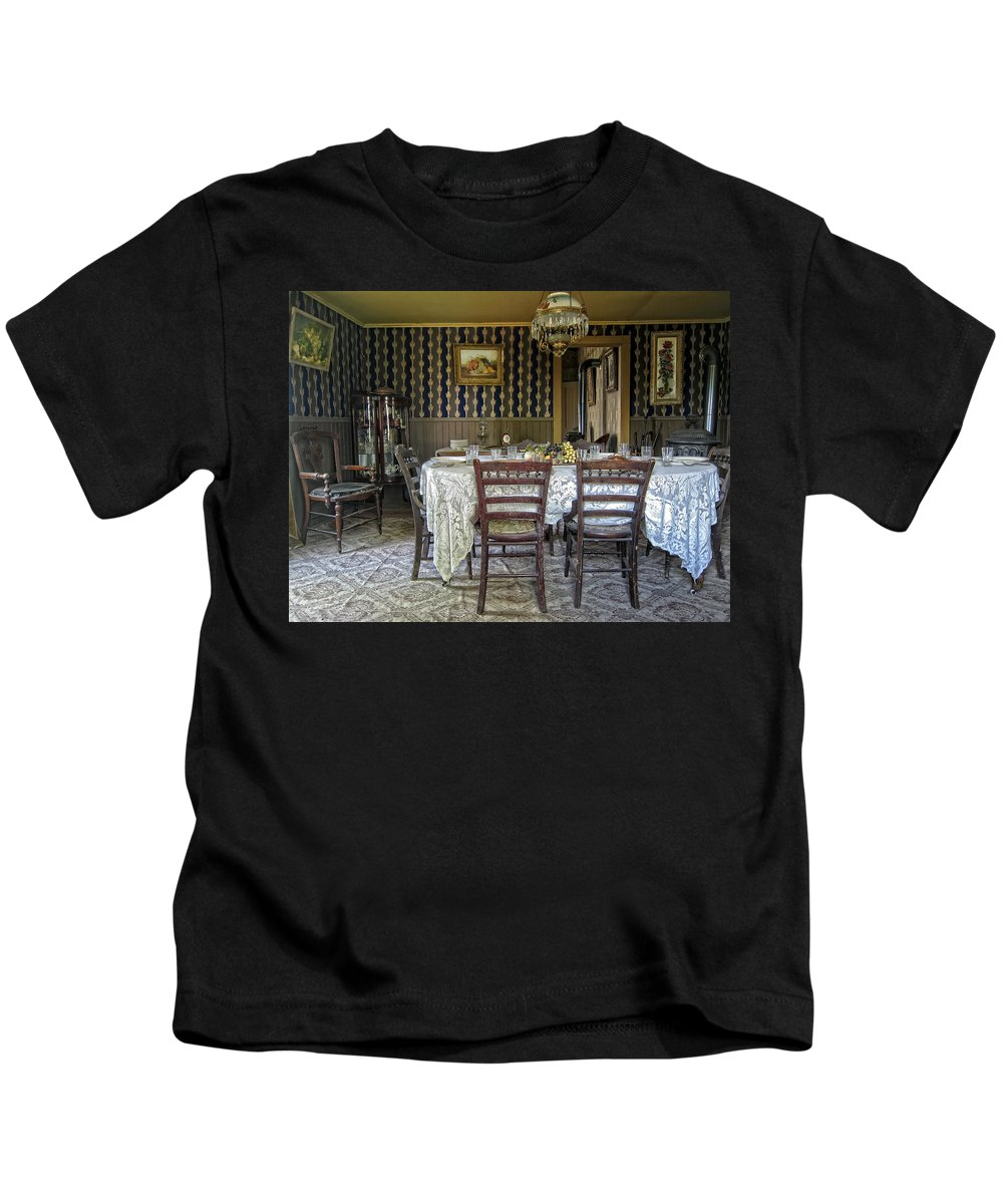 Victorian Kids T-Shirt featuring the photograph Victorian Sedman Home Dining Room - Nevada City Montana by Daniel Hagerman