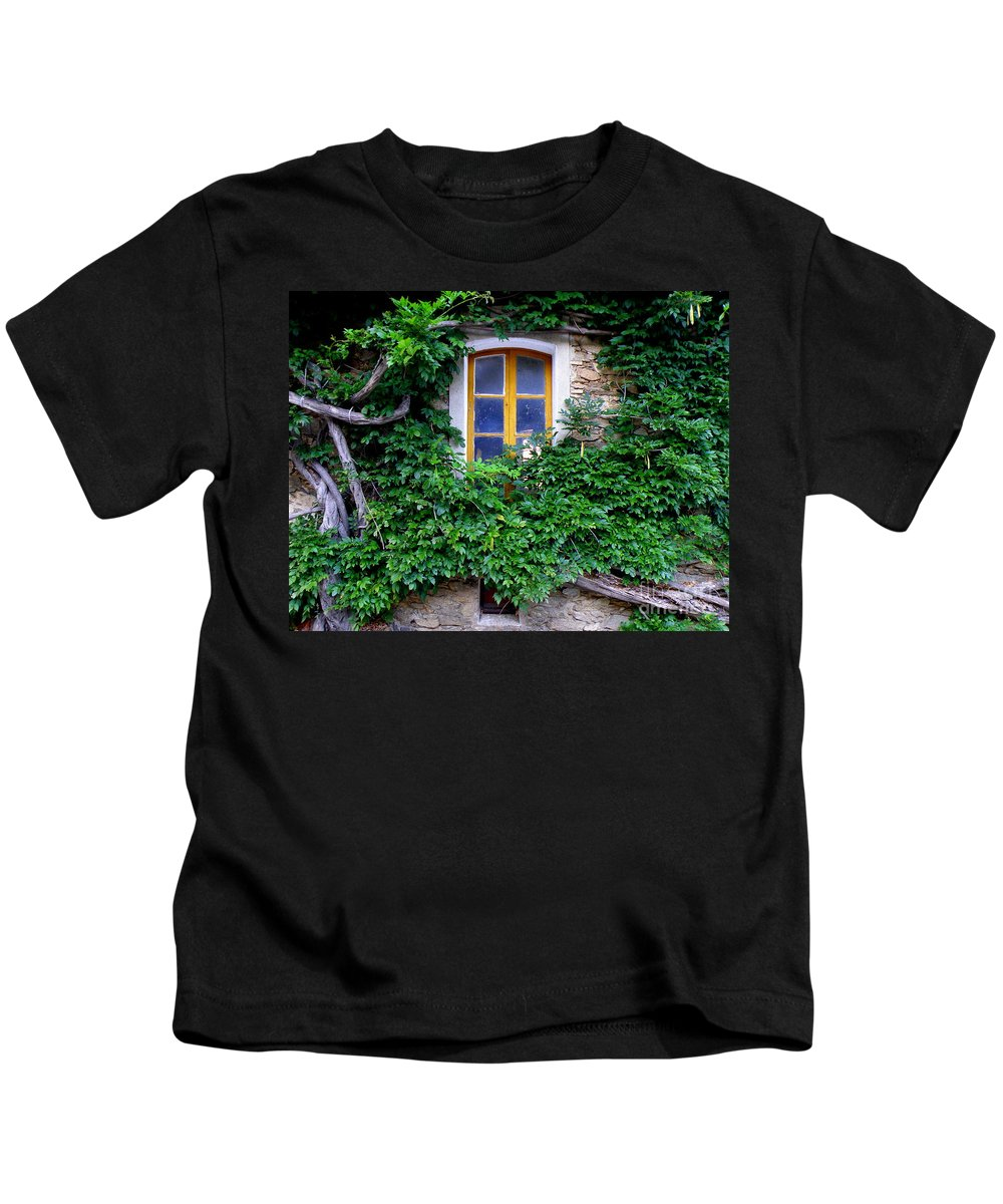 Windows Kids T-Shirt featuring the photograph Vine Covered Stone House by Lainie Wrightson