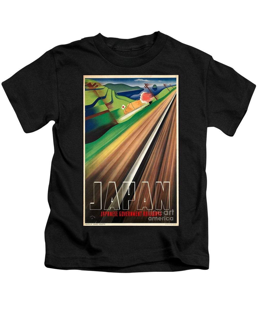 Japan Kids T-Shirt featuring the photograph Vintage Japanese Government Railways Poster by George Pedro