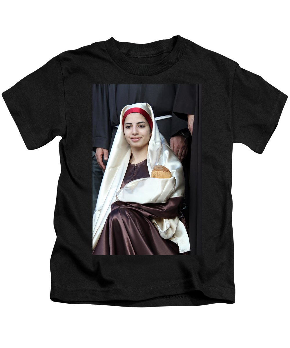 Mary Kids T-Shirt featuring the photograph Virgin Mary And Baby Jesus At 4th Annual Christmas March by Munir Alawi