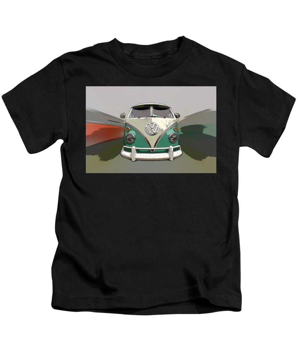 Vw Kids T-Shirt featuring the photograph Vw Bus Art by Steve McKinzie