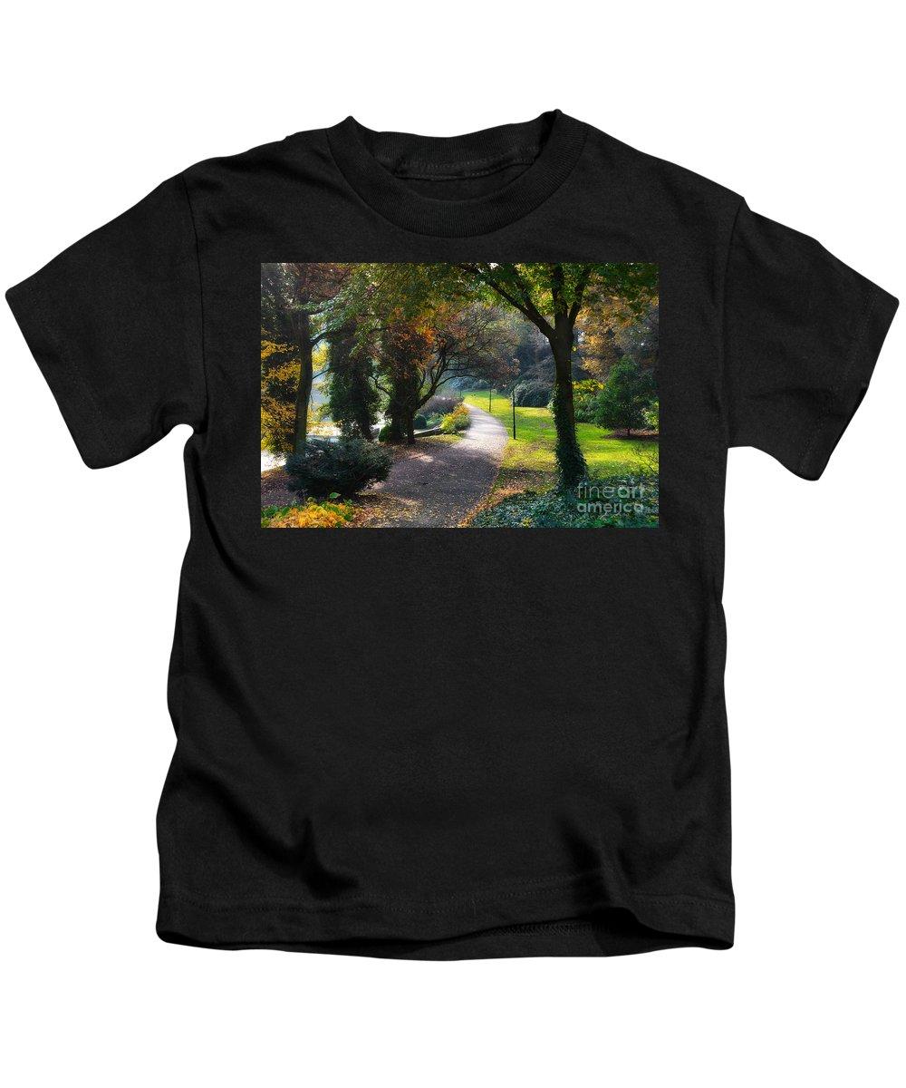 Autumn Kids T-Shirt featuring the photograph Wallanlagen Park by Ari Salmela
