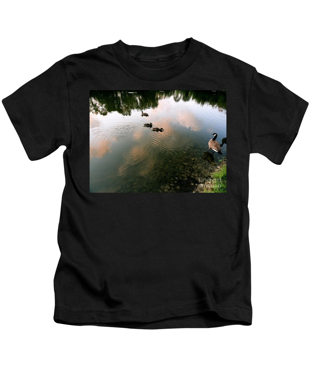 Holmesbrook Photographs Kids T-Shirt featuring the photograph Watchful Eye Playful Sky by Trish Hale