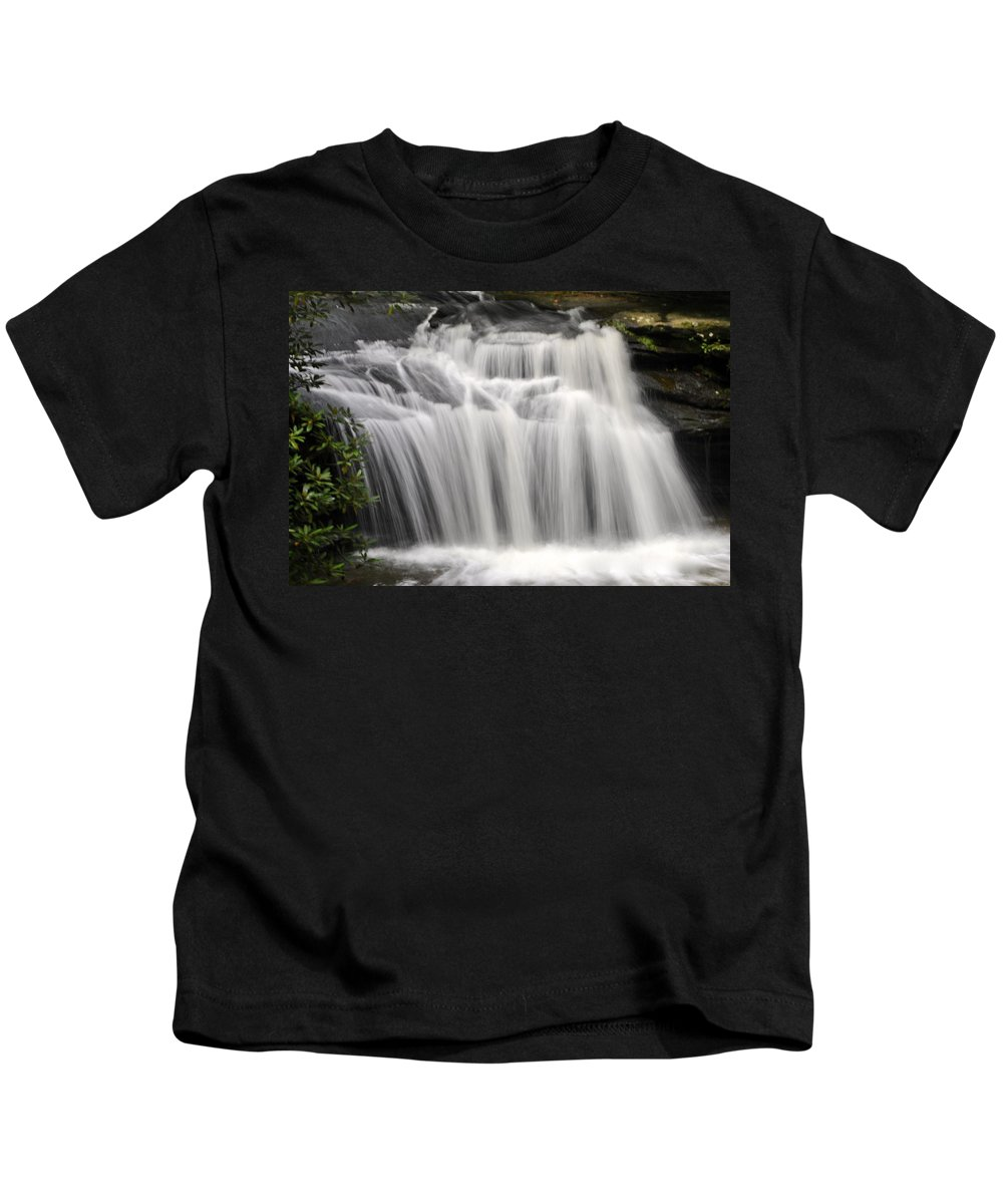 Waterfall Print Kids T-Shirt featuring the photograph Waterfall In The Woods by Deborah M Rinaldi