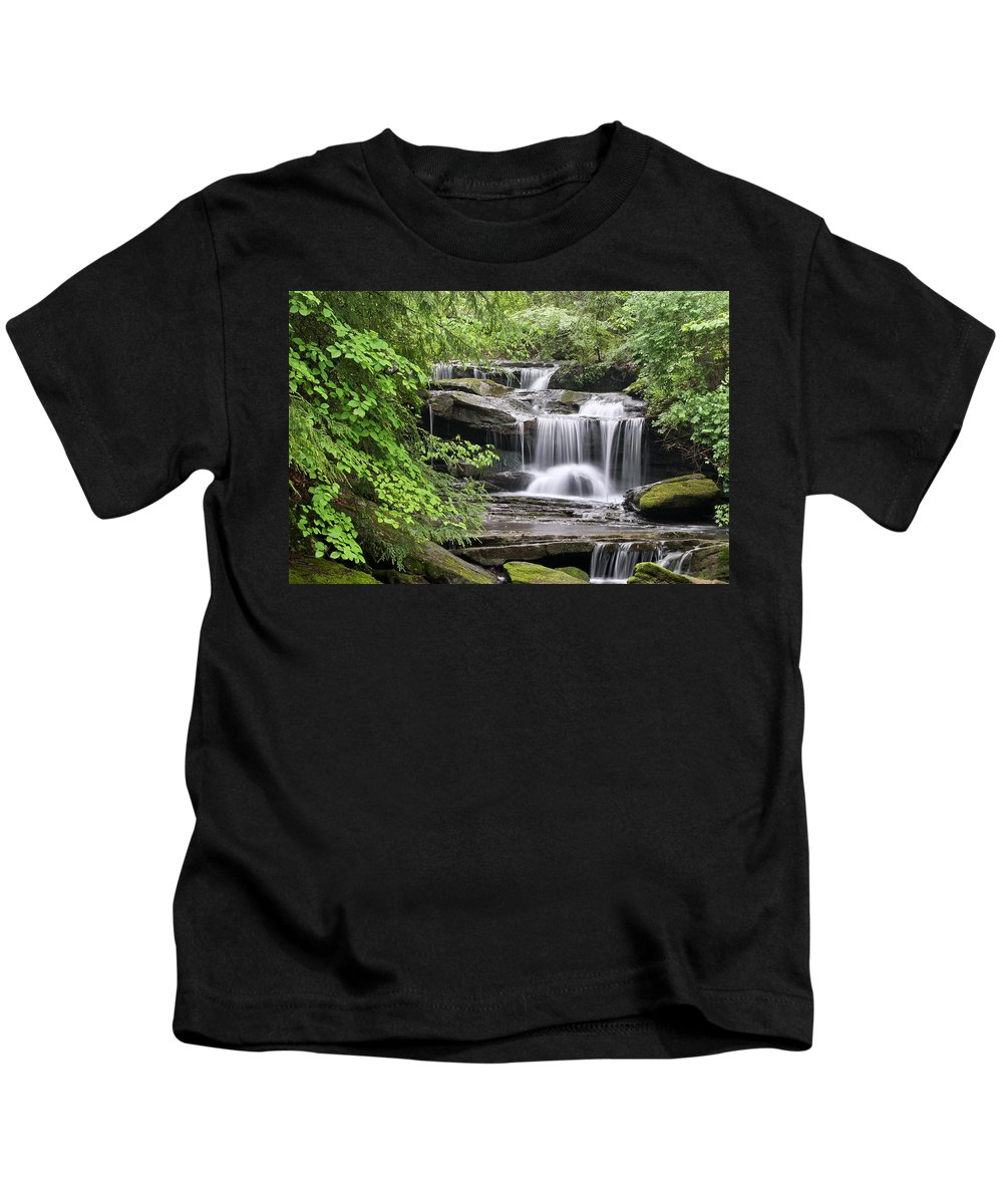 Waterfall Kids T-Shirt featuring the photograph Waterfall Near Mabbitt Spring by Tom and Pat Cory