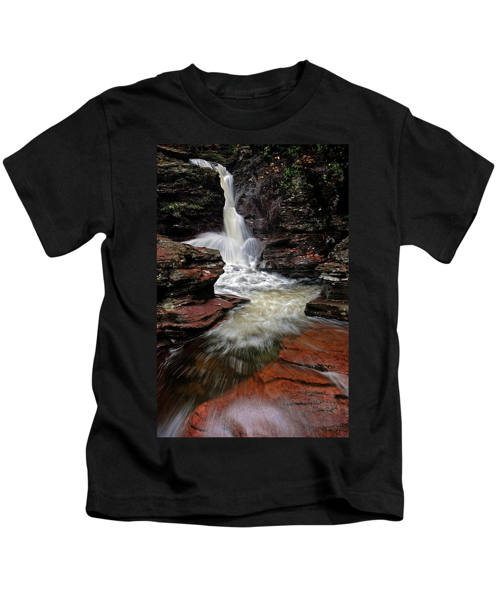 Waterfall Kids T-Shirt featuring the photograph Waterfall Ricketts Glen by Dave Mills