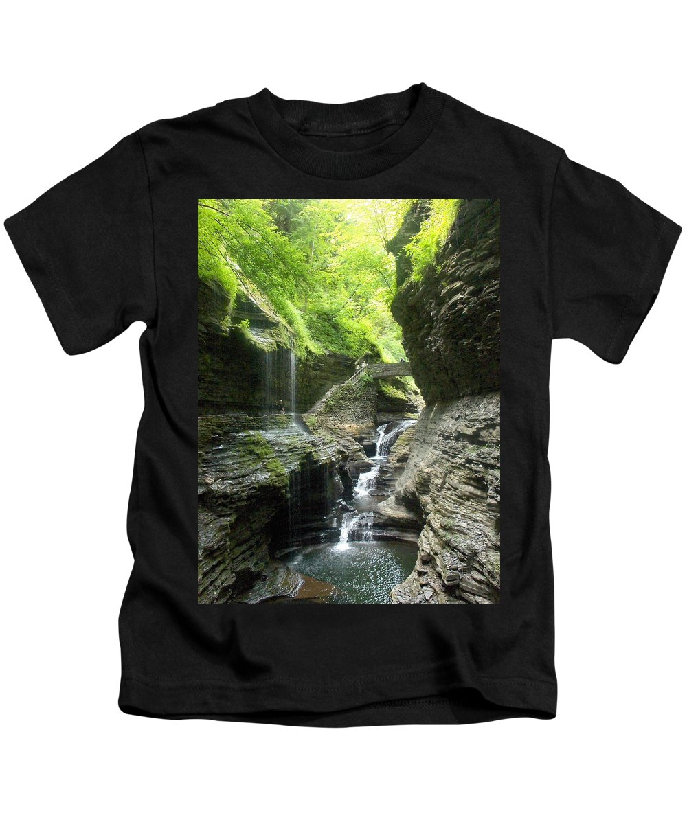 Waterfall Kids T-Shirt featuring the photograph Watkins Glen Falls by Beth Gates-Sully