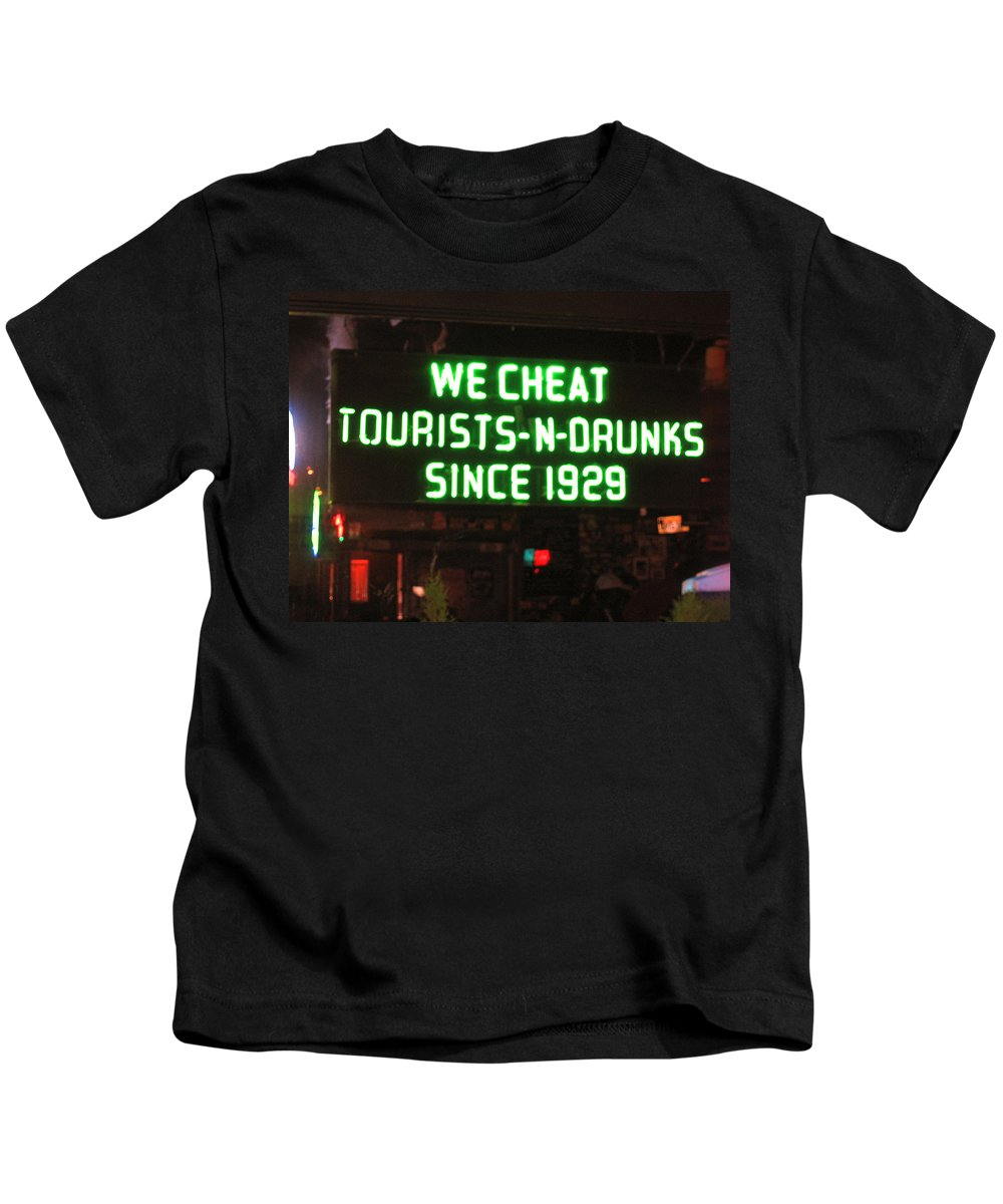 We Cheat Tourists And Drunks Since 1929 Kids T-Shirt featuring the photograph We Cheat Drunks Since 1929 by Kym Backland