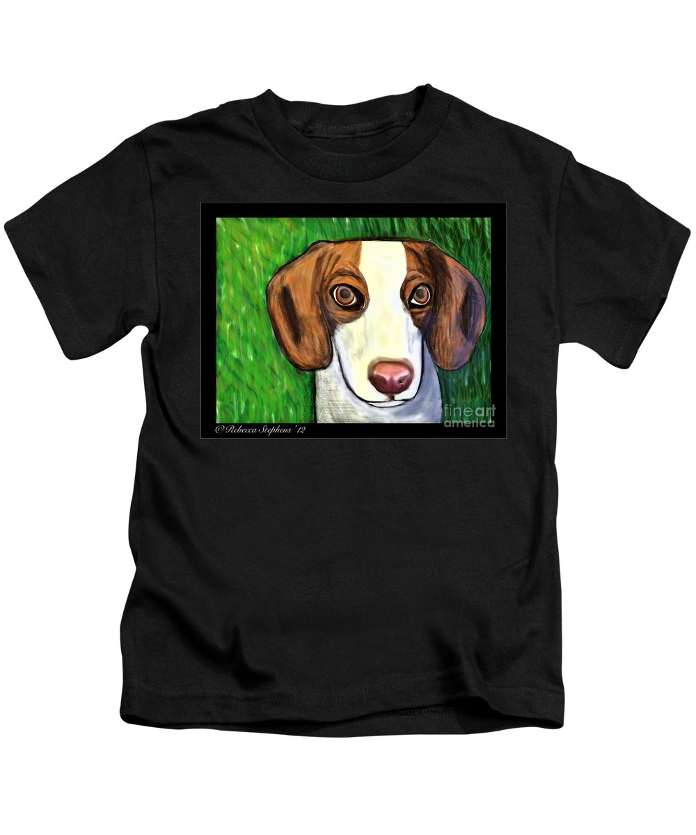 Beagle Kids T-Shirt featuring the painting Wee Beagle by Rebecca Stephens