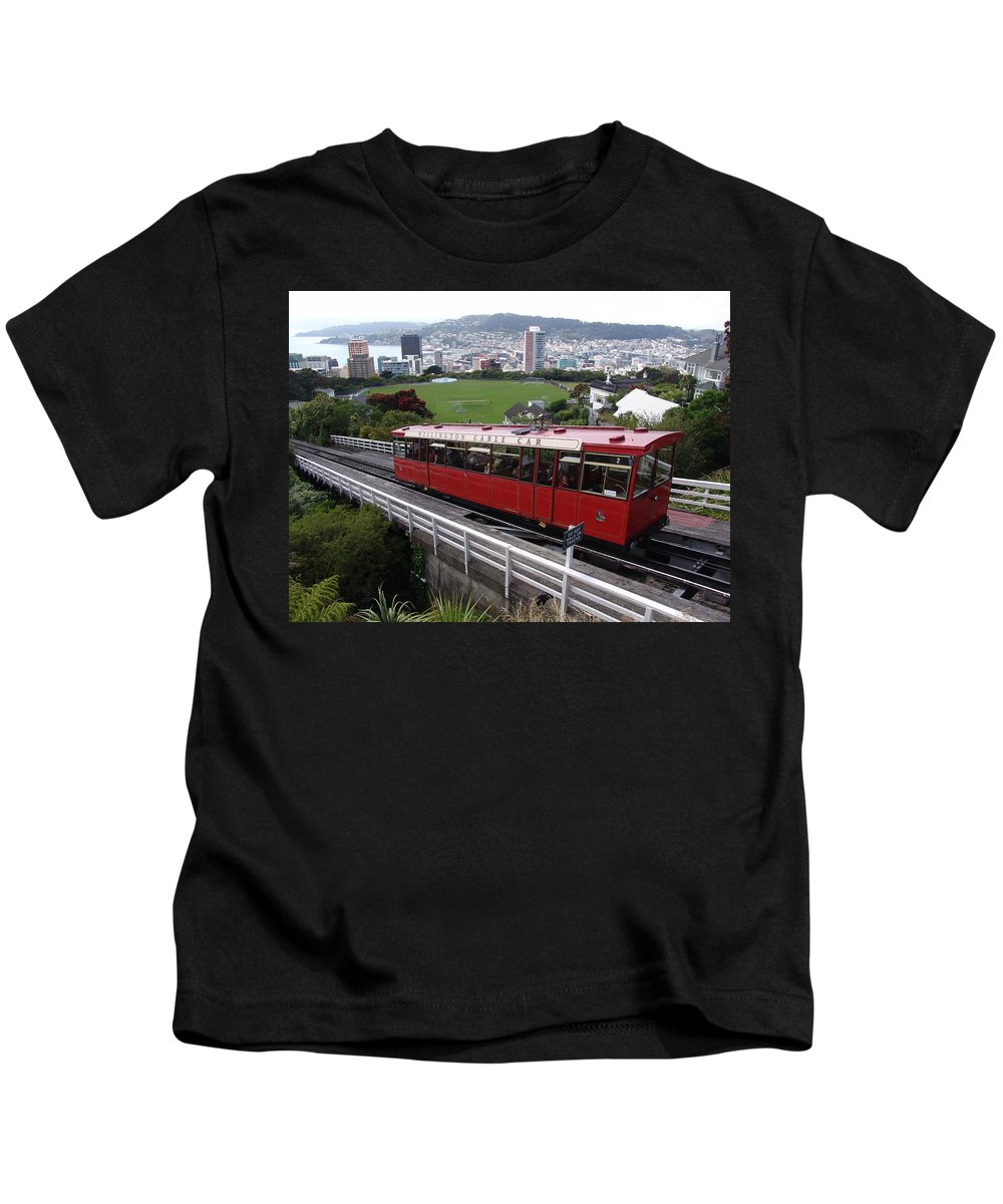 Tram Kids T-Shirt featuring the photograph Tram Car Viewpoint - Wellington, New Zealand by Ian Mcadie