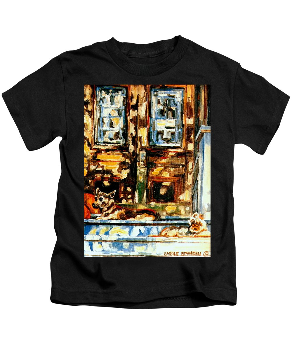 Quebec Artist Kids T-Shirt featuring the painting Westmount Porch In Early Autumn Montreal City Scene by Carole Spandau