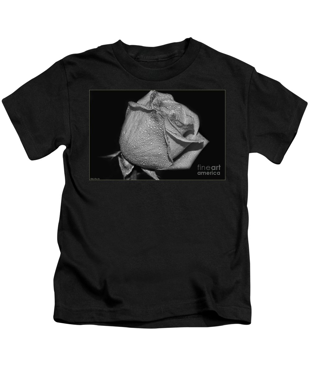 Botanical Kids T-Shirt featuring the photograph Wet White Rose by Debbie Portwood