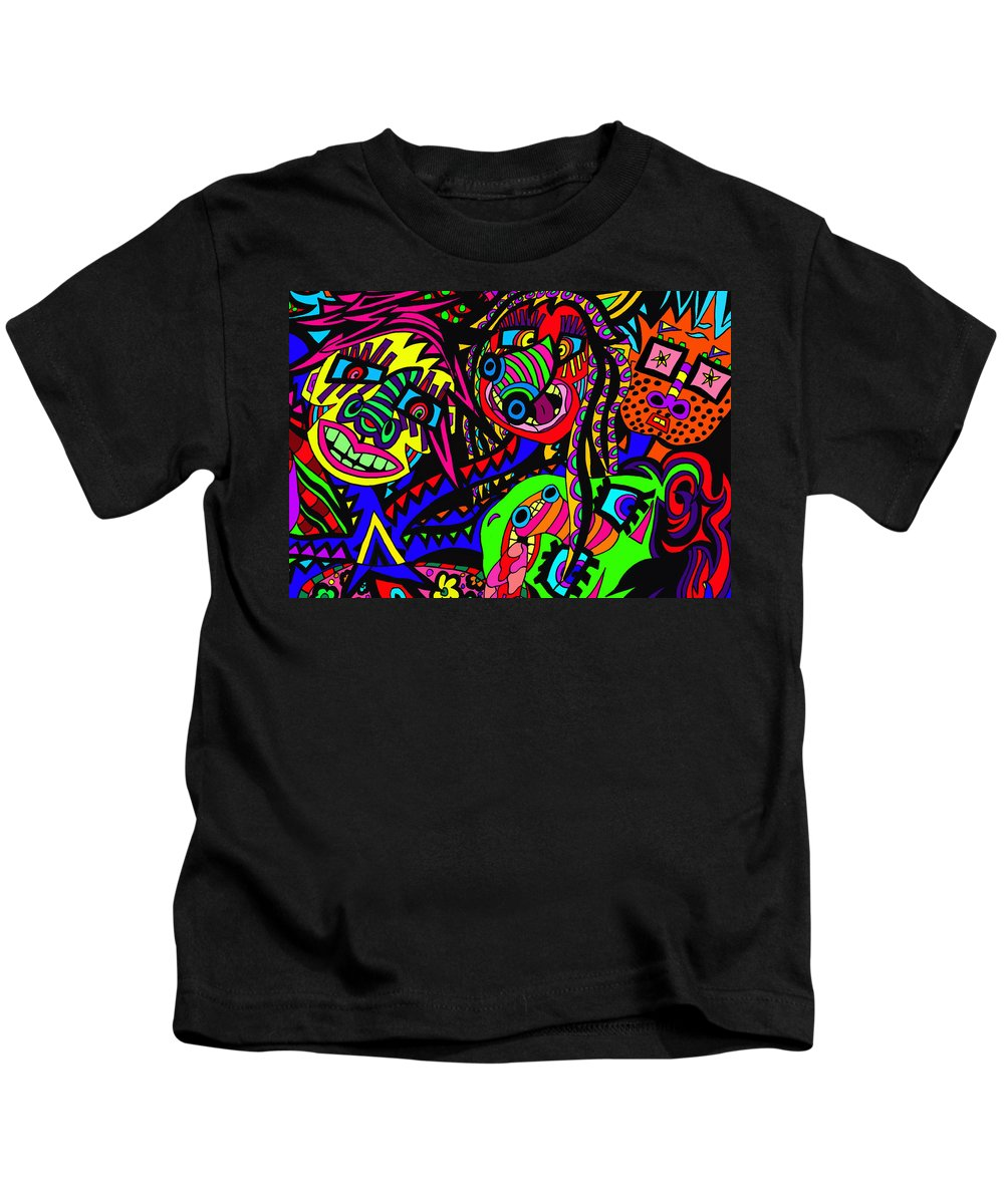 Joncrowds Kids T-Shirt featuring the painting Where Are We by Karen Elzinga