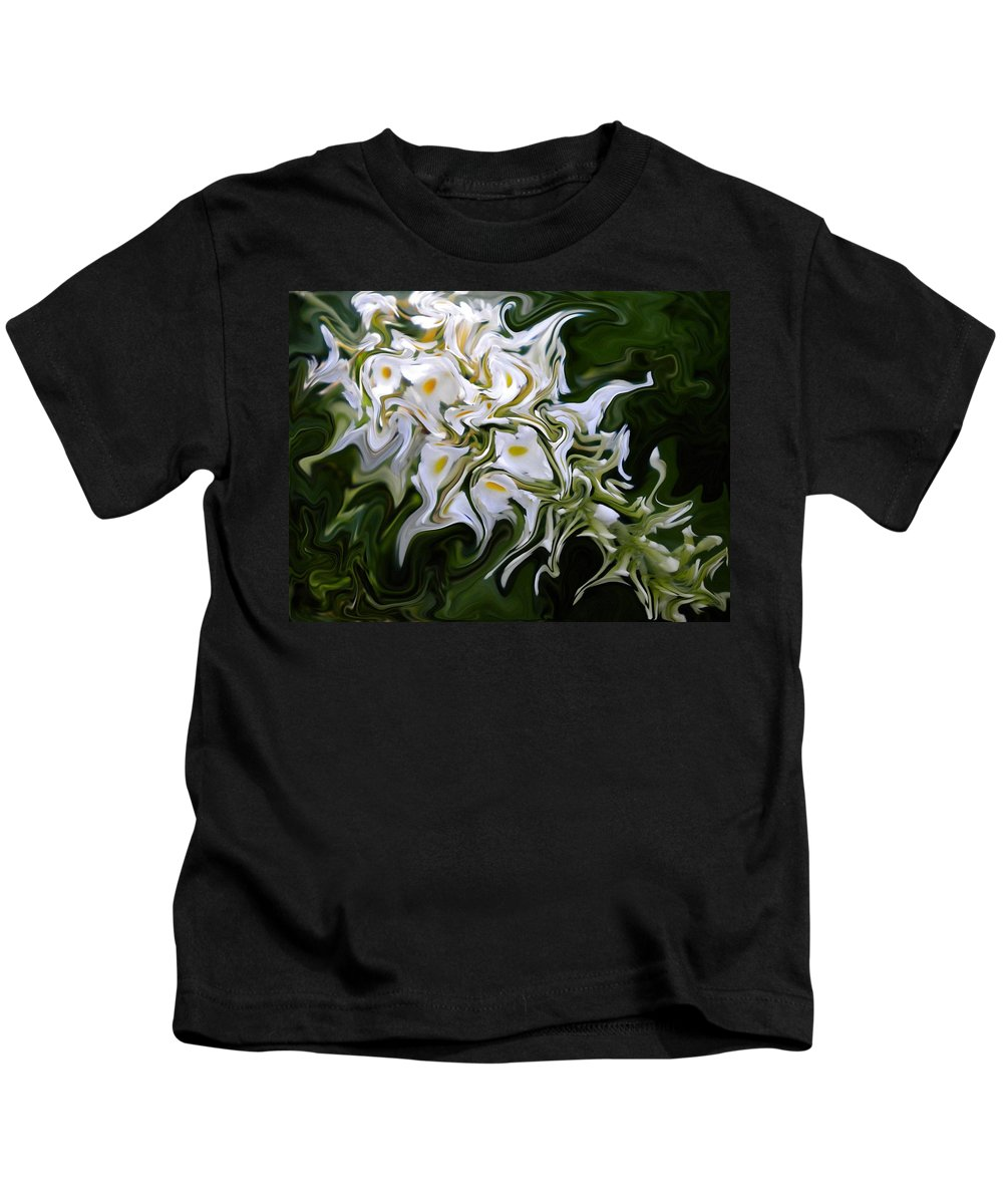 Abstract Kids T-Shirt featuring the painting White Flowers 2 by Renate Nadi Wesley