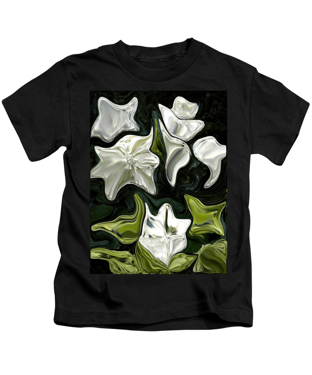 White Kids T-Shirt featuring the painting White Flowers by Renate Nadi Wesley
