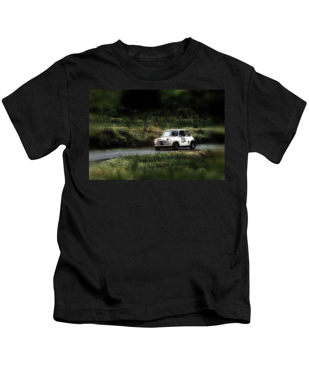 Car Kids T-Shirt featuring the photograph White Mini Innocenti Austin Morris by Alain De Maximy