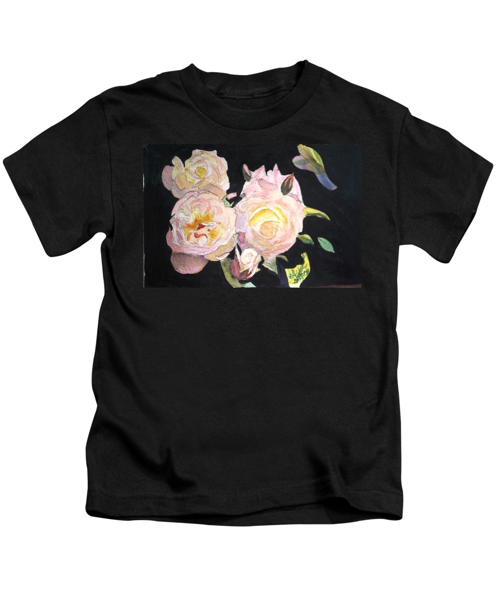 White Kids T-Shirt featuring the painting White Roses by Donna Walsh