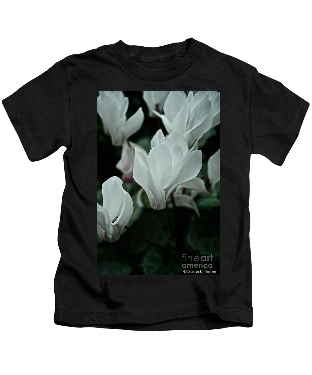 Tropical Plant Kids T-Shirt featuring the photograph White Wonder by Susan Herber